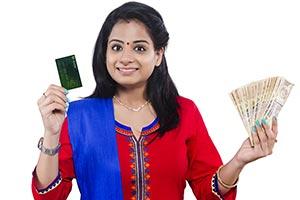Woman Money Showing Debit Card