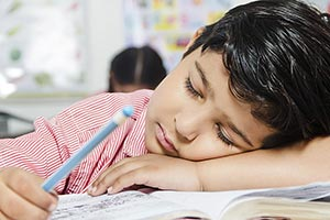School Child Boy Sleeping Classroom