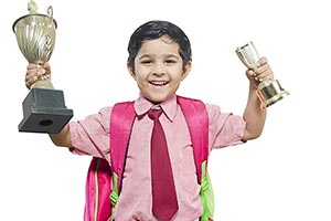 School Child Boy Victory Trophy