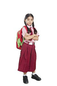 Little Girl School Uniform Carying Backpack Bag