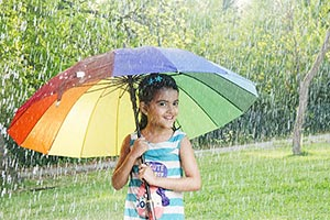 Child Girl Umbrella Playing Rain