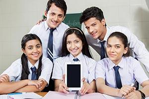 School Friends Showing Tablet