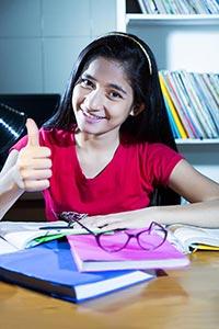 Girl Student Studying Thumbsup