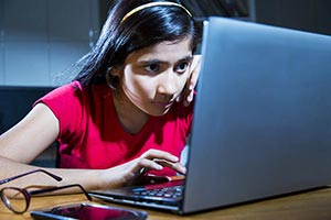 Girl Student Laptop Working