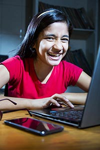 Girl Student Laptop Chatting