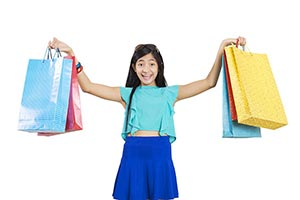 Girl Shopping bags Showing