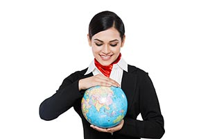 Indian Airhostess Globe Showing