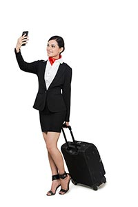 Air Hostess Taking Selfie