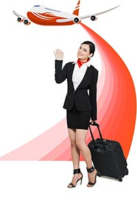 Airhostess Waving Hands Illustration