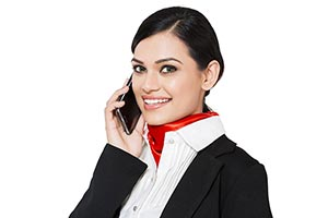 Airhostess Woman Talking Phone