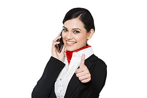 Airhostess Talking Phone Thumbsup