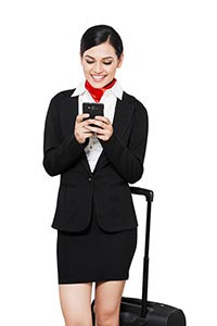 Airhostess Woman Chatting  Phone