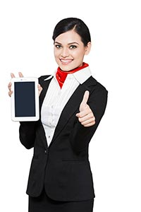 Airhostess Tablet Showing thumbsup