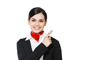 Airhostess Pointing Adult woman