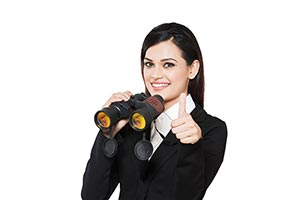 Businesswoman with Binoculars Thumbsup