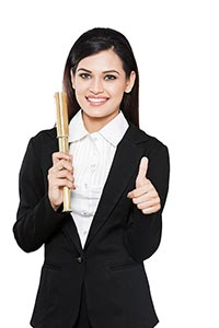Businesswoman Telescope Thumbs up