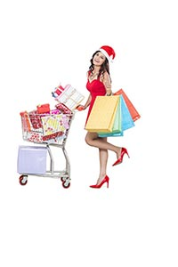 Woman Christmas Shopping Cart