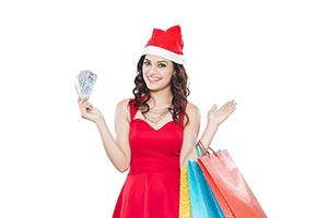 Woman Money Christmas Shopping