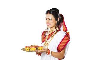 Bengali Woman Diya Plate