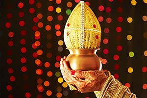 Navratri Bride Wedding Holding Kalash Coconut