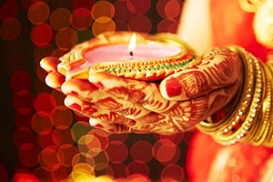 Close-up Indian Woman Hands Holding Diya Deepavali