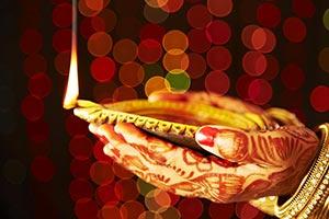 Woman Karva Chauth Hands Holding Diya