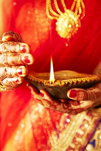 Traditional Indian Woman Oil Lamp Diwali Celebrati