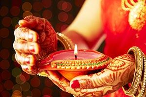 Indian Woman Oil lamp Diwali Hindu Religion