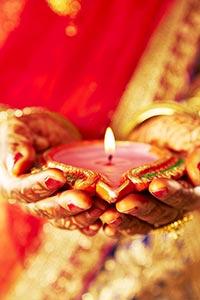 Indian Bride Holding Diya Diwali Festival