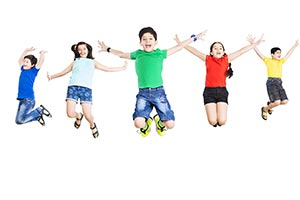 Group Children Jumping Cheering