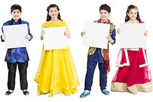 Indian Children Holding White Board