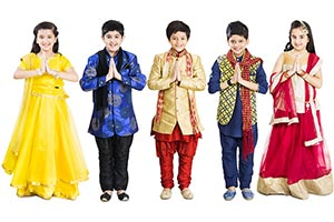 Indian Children Diwali Welcome Namaste