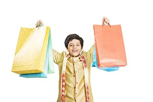 Child Boy Diwali Showing Shopping Bags