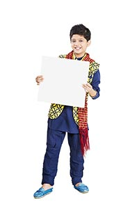 Indian Little Boy Holding White Board