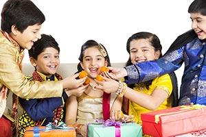 Children Friends Diwali Festival Feeding Laddu