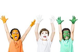 3-5 People ; Arms Raised ; Body Paint ; Boys ; Bro