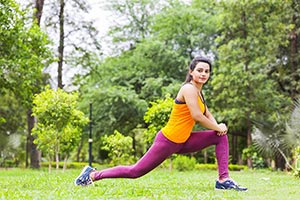 Fitness Woman Stretching Outdoor Park