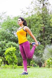 Woman Stretching Park Exercising