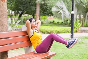 Sports Woman Stretching Workout Park