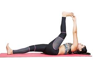 Woman Lying Down Hamstring Stretch