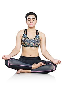 Woman Doing Yoga Meditating Padmasana