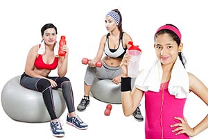 Indian Females Doing Fitness Exercises