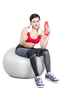 Fitness Woman Holding Bottle Water Thumbsup
