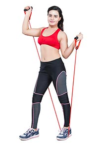 Fitness Woman Pull Elastic Rope Exercising
