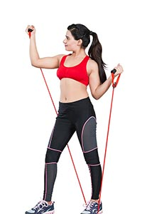 Fitness Lady Pull Elastic Rope Exercising