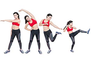 Fitness Woman Streching Multiple Personality