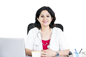 Indian Woman Doctor Sitting Office