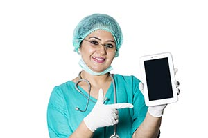 Surgeon Doctor Pointing Digital tablet
