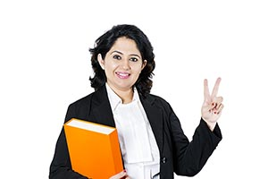 Woman Lawyer Finger Victory Sign