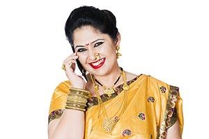 Indian Maharashtrian Woman Talking  Cellphone